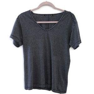 RAG & BONE Striped v-neck linen blend t-shirt